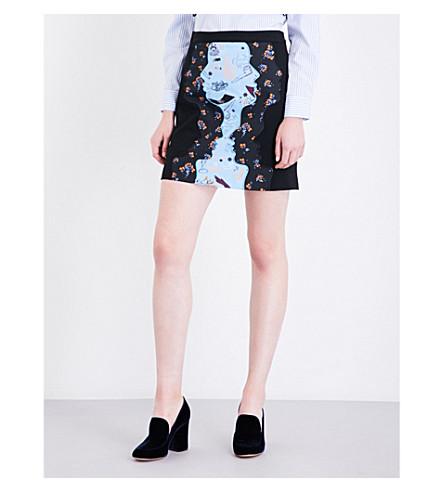 VIVETTA Cannes wool-blend skirt (Black+multi+blue