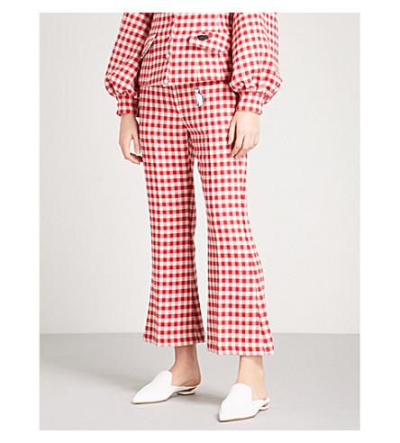 VIVETTA Sham appliqué gingham woven trousers (Red/white