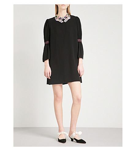VIVETTA Callisto embroidered-collar crepe mini dress (Black