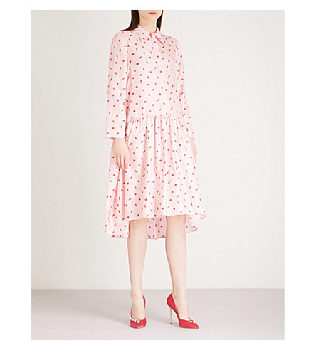 VIVETTA Atik heart and shoe-print silk-twill dress (Pink
