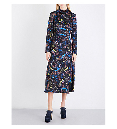 VIVETTA Providence-print silk-charmeuse dress (Multi+black