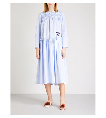 VIVETTA Striped cotton dress (Light+blue