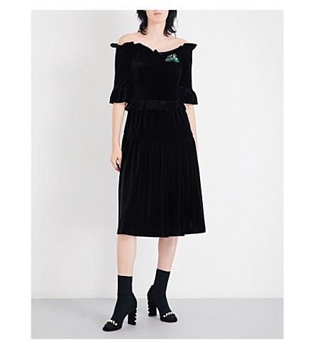 VIVETTA Skopje off-the-shoulder velvet midi dress (Black