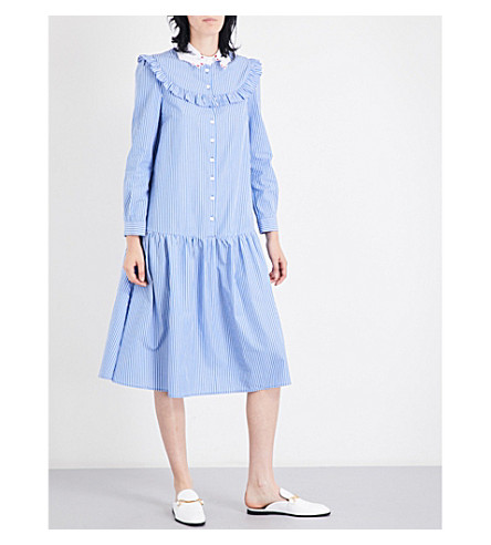 VIVETTA Teheran striped cotton-poplin shirt dress (Navy