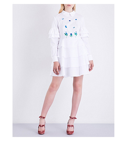 VIVETTA Gironda frilled cotton dress (White