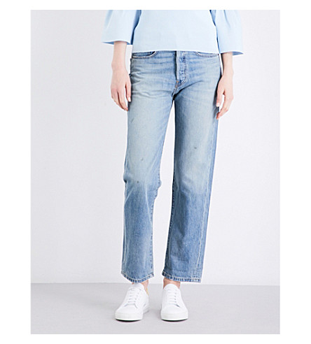 ELIZABETH AND JAMES Loose boyfriend-fit mid-rise jeans (Blue