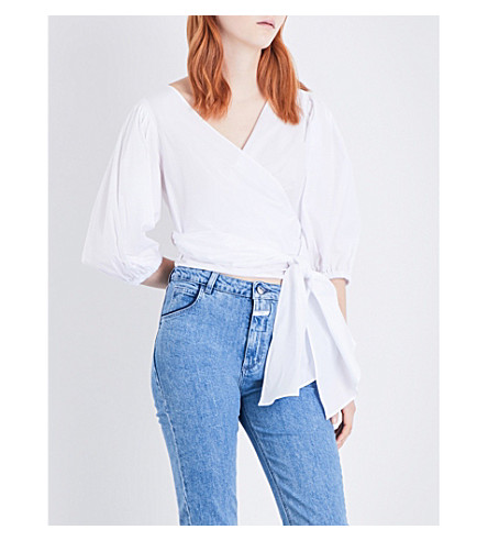 ELIZABETH AND JAMES Haven stretch-cotton wrap top (White