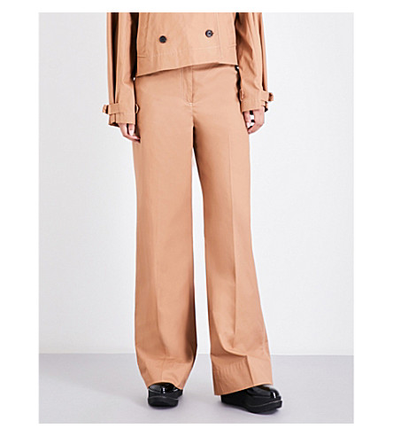 ELIZABETH AND JAMES Maslin wide high-rise cotton trousers (Nutmeg