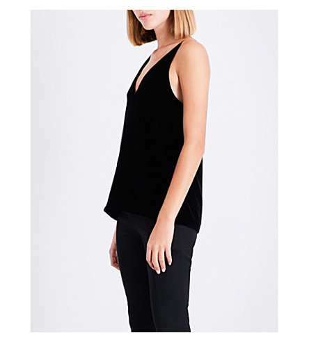 ELIZABETH AND JAMES Elliott velvet top (Black