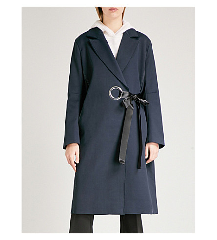 ELIZABETH AND JAMES Simon tie-waist cotton-blend coat (Navy