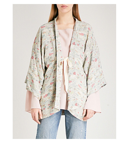 ELIZABETH AND JAMES Drew floral-print crepe kimono jacket (Multi