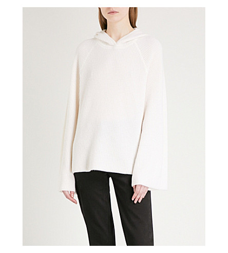 ELIZABETH AND JAMES Tristan flared-sleeve cashmere hoody (Creme