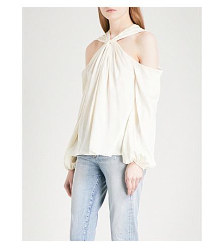 ELIZABETH AND JAMES Minnie halterneck satin top (Alabaster