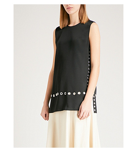 ELIZABETH AND JAMES Khan eyelet-embellished top (Black