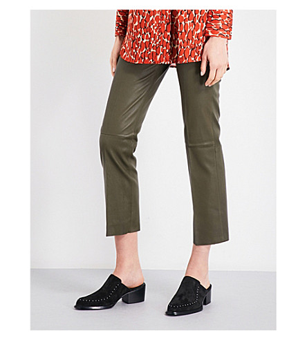 BY MALENE BIRGER Florentina straight leather trousers (Hunter