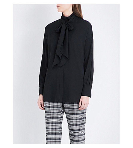 BY MALENE BIRGER Simmy pussybow woven blouse (Black
