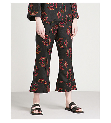 A.L.C Evans silk jacquard trousers (Black