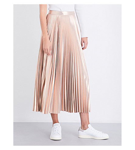 A.L.C Bobby plissé metallic skirt (Light+rose+gold