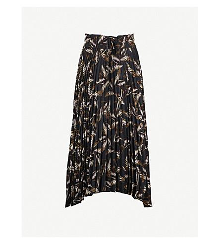 A.L.C Maya pleated chiffon skirt (Blk/s.blue/brwn+multi