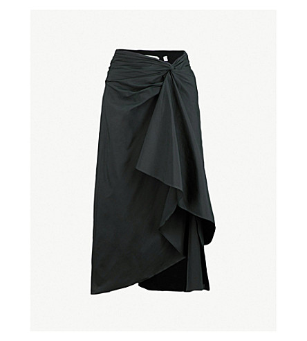 A.L.C Diller ruffled cotton-blend midi skirt (Black
