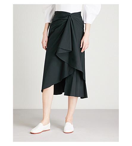 A.L.C Diller ruffled cotton-blend midi skirt (Black