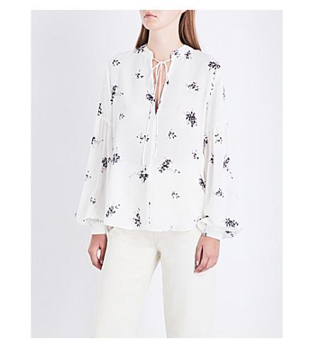 A.L.C Ty floral silk-crepe shirt (Wht+pink+blk