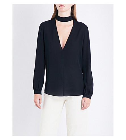A.L.C Liza choker-detail silk-crepe top (Black