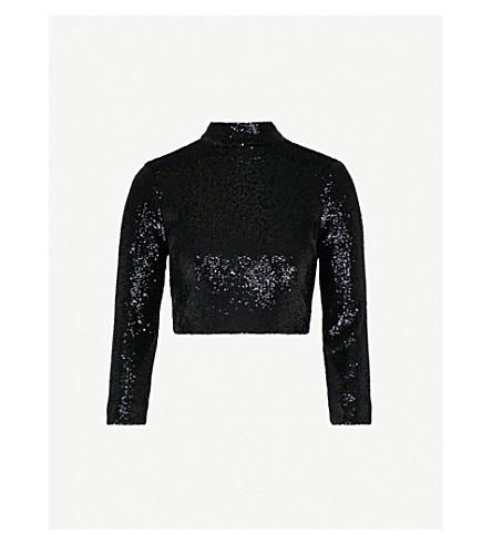 A.L.C Keegan turtleneck sequinned cropped top (Black