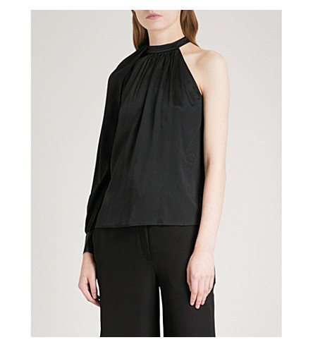 A.L.C Piper one-shoulder stretch-silk shirt (Black