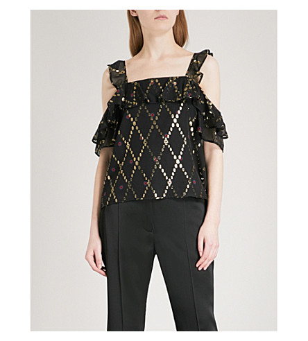 A.L.C Willow cold-shoulder silk-blend top (Black+multi