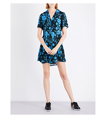 A.L.C Kayden floral silk dress (Petrol+french+blue
