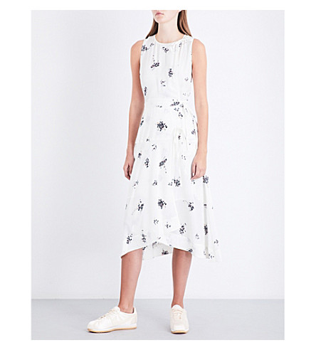 A.L.C Zayn wrap-front floral silk-crepe dress (Wht+pink+blk