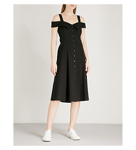 A.L.C Hudson cold-shoulder linen-blend midi dress (Black