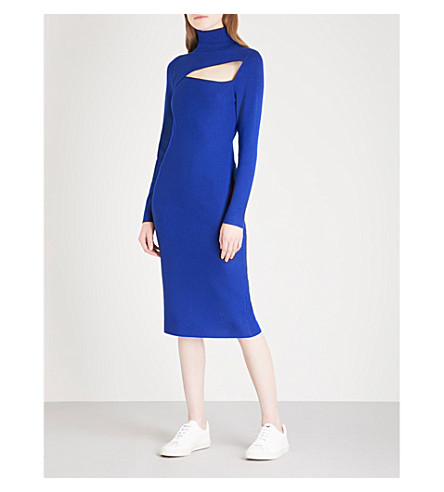 A.L.C Montero cutout turtleneck stretch-knit dress (Deep+cobalt