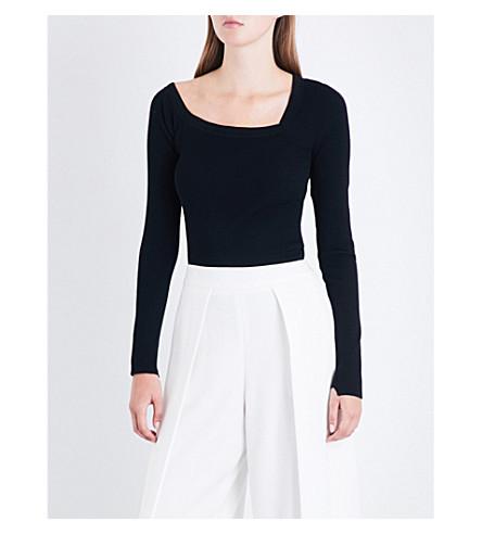A.L.C Aria asymmetric wool-blend sweater (Black