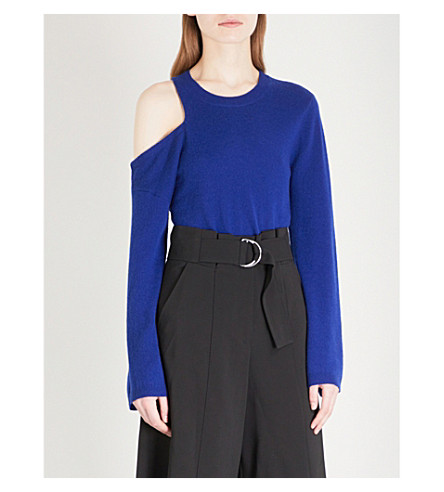 A.L.C Hamilton cold-shoulder wool and cashmere-blend jumper (Deep+cobalt
