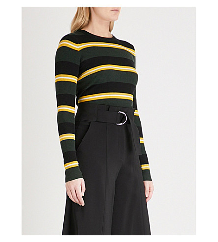 A.L.C Shea merino wool-blend jumper (Emerald/blk/canary/wht