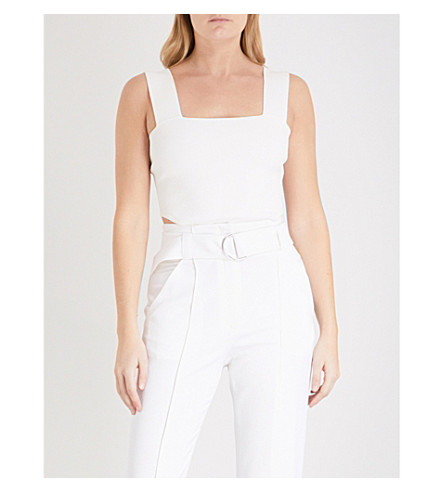 A.L.C Mali sleeveless woven cropped top (White