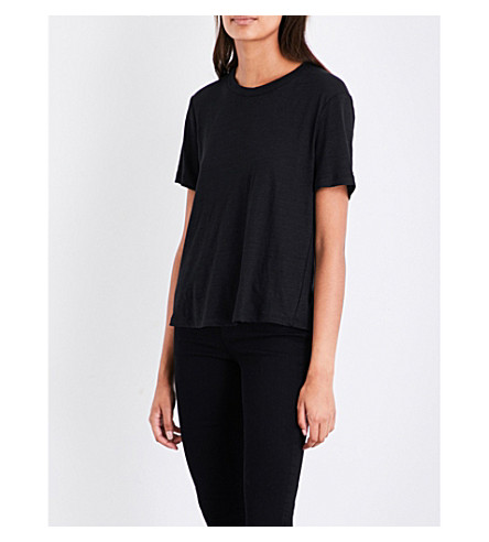 A.L.C Alber lace-up detail linen top (Black