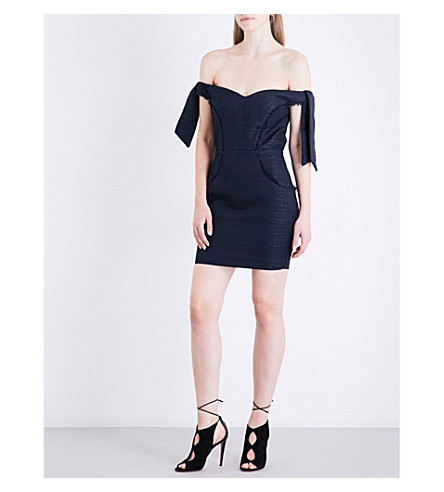 MISHA COLLECTION Dahlia off-the-shoudler tweed dress (Navy