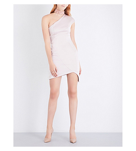 MISHA COLLECTION Hana asymmetric satin-crepe dress (Blush