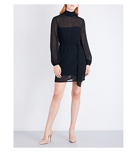 MISHA COLLECTION Nadine polka-dot chiffon dress (Black