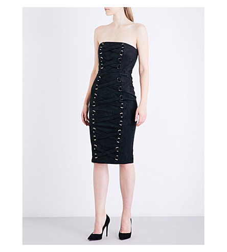 MISHA COLLECTION Petra suedette dress (Black