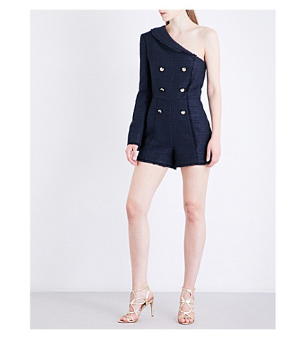 MISHA COLLECTION Tricia asymmetric tweed playsuit (Navy
