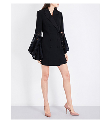 MISHA COLLECTION Sabrina lace-sleeve crepe blazer dress (Black