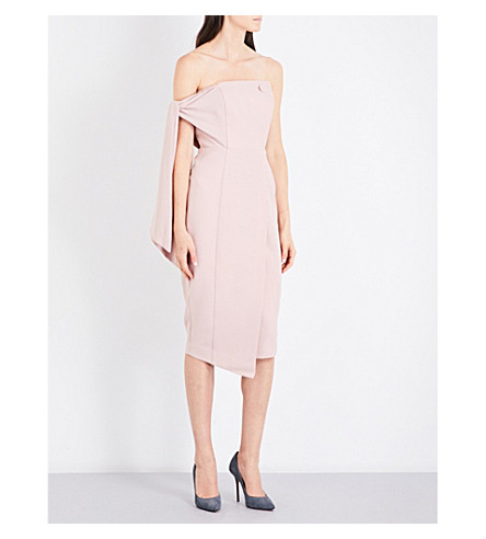 MISHA COLLECTION Romi strapless fitted crepe midi dress (Blush+pink