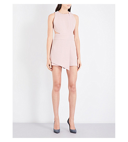 MISHA COLLECTION Clara cutout crepe playsuit (Blush+pink