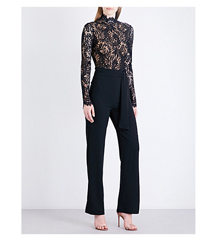 MISHA COLLECTION Allegra lace and crepe jumpsuit (Black