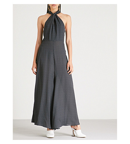 PAPER LONDON Cala wide-leg dot-print crepe jumpsuit (Night+sky
