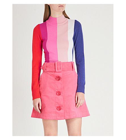 PAPER LONDON多莉条纹羊毛领毛衣跳线 (彩虹 + 条纹